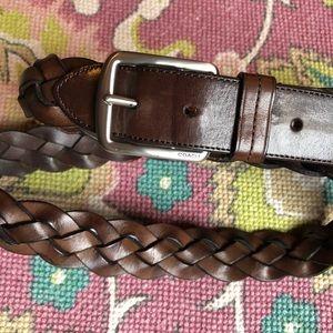 Coach Hampton Braided Woven Brown Leather Belt